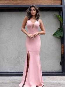 Elegant V Neck Open Back Pink Elastic Satin Mermaid Long Prom Dresses with Side Split,Sexy Formal Party Dresses DG8017