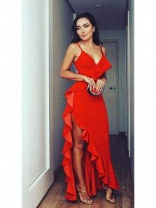 Charming Spaghetti Straps Red Satin Sheath Long Prom Dresses with Ruffle,Sexy Evening Formal Party Dresses DG8019