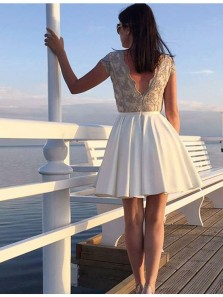 Chic A-Line Boat Neck Cap Sleeve White Satin Homecoming Dresses with Appliques,V Back Cocktail Party Dresses DG8029