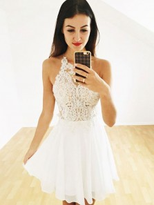 Pretty A-Line Halter White Chiffon Short Homecoming Dresses with Lace,Cocktail Party Dresses DG8030