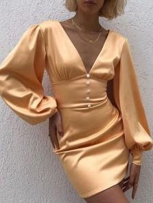 Sexy Bodycon Long Sleeve V Neck Gold Silk Satin Short Mini Tight Homecoming Dresses,Short Evening Party Dresses
