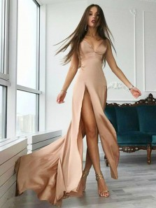 Sexy V Neck Spaghetti Straps Champagne Satin Long Prom Dresses with Side Split,Evening Party Dresses
