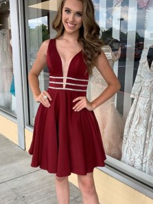 A-Line V Neck Open Back Burgundy Satin Short Homecoming Dresses with Beading,Short Prom Dresses