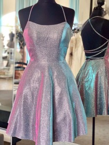 Sparkly A-Line Scoop Neck Cross Back Gray Satin Short Homecoming Dresses,Prom Dresses Short,Back to School Dresses