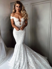 Romantic Mermaid Off the Shoulder Open Back White Lace Wedding Dresses with Train,Lace Bridal Gown