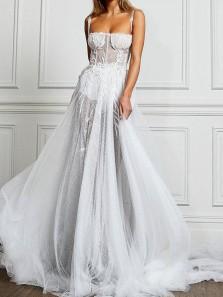 Bohemia A-Line Sweetheart Open Back White Tulle Appliques Wedding Dresses,Charming Beach Wedding Dresses