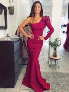 Elegant Mermaid One Shoulder Long Sleeve Dark Red Satin Long Prom Dresses,Evening Party Dresses with Train