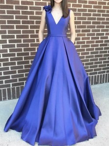 Beautiful A-Line V Neck Open Back Royal Blue Satin Long Prom Dresses with Pockets,Formal Evening Party Dresses