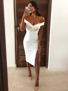 Chic Body con Off the Shoulder Open Back White Satin Short Prom Dresses with Side Split,Evening Party Dresses Under 100
