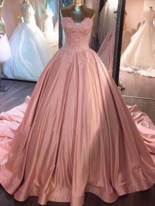 Princess Ball Gown Sweetheart Open Back Blush Pink Satin Long Prom Dresses with Appliques,Quinceanera Dresses,Girls Junior Graduation Gown,Sweet 16 Party Dresses