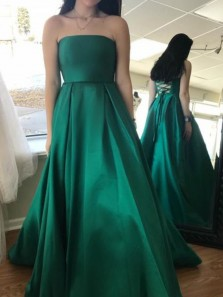 Simple A-Line Strapless Criss Cross Back Long Prom Dresses with Pockets,Formal Evening Party Dresses