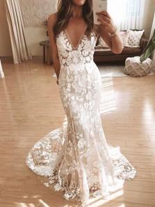 Elegant Mermaid V Neck Open Back Ivory Lace Wedding Dresses,2020 Bridal Dresses with Train