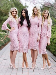 Chic Body con Long Sleeves Pink Lace Short Bridesmaid Dresses