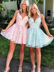 Cute A-Line Sweetheart Cross Back Pink Lace Homecoming Dresses for Junior