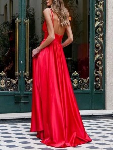 Simple A-Line V Neck Open Back Red Satin Long Prom Evening Dresses Under 100,Formal Party Dresses