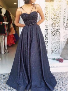Modest A-Line Spaghetti Straps Open Back Navy Blue Lace Long Prom Dresses with Beading,Evening Party Gown