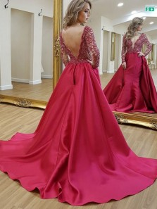 Stunning A-Line V Neck Open Back Red Satin Long Sleeve Prom Dresses with Lace,Charming Formal Party Dresses