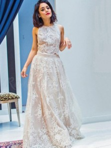 Stunning A-Line Two Piece Jewel Ivory Lace Wedding Dresses,Country Wedding Dresses