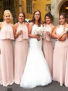 Elegant A-Line Halter Open Back Pink Chiffon Long Bridesmaid dresses