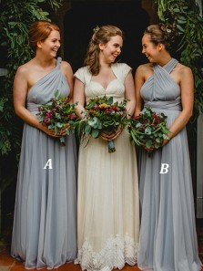 Elegant A-Line One Shoulder Open Back Blue Chiffon Long Bridesmaid Dresses