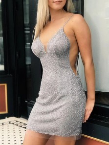 Sexy Bodycon V Neck Open Back Silver Beaded Short Homecoming Dresses