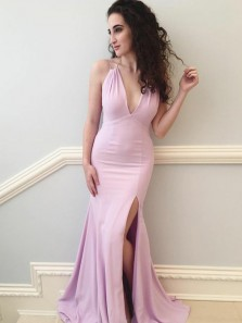 Sexy Mermaid Deep V Neck Open Back Pink Elastic Satin Long Prom Dresses with Side Split,Charming Evening Dresses
