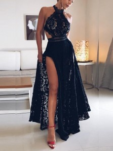 Sexy A-Line Halter Open Back Navy Blue Lace Long Prom Dresses with High Split,Charming Formal Party Dresses