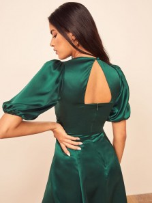 Vintage A-Line Sweetheart Open Back Hunter Green Half Sleeve Silk Satin Short Evening Party Dresses,Boho Spring Wedding Guest Party Dresses