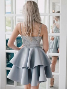 Beautiful A-Line V Neck Spaghetti Straps Open Back Silver Tier Short Homecoming Dresses,Lace Appliques Hoco Dresses