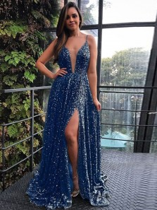 Charming A-Line V Neck Spaghetti Straps Open Back Blue Sequins Long Prom Dresses with Side Split