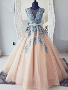 A-Line Round Neck Open Back Champagne Tulle with Appliques,Charming Formal Party Dresses