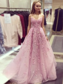 Cute A-Line V Neck Strapless Open Back Pink Tulle Long Prom Dresses with Appliques,Formal Prom Dresses