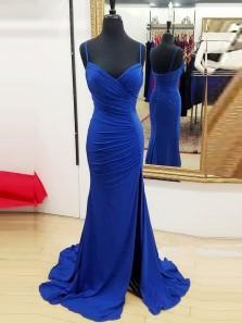 Classy Mermaid Spaghetti Straps Open Back RoyalBlue Elastic Satin Long Prom Dresses with Side Split,Evening Party Dresses