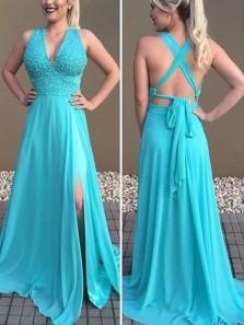 Stylish A-Line V Neck Cross Back Lake Blue Chiffon Long Prom Dresses with Beading,Evening Party Dresses