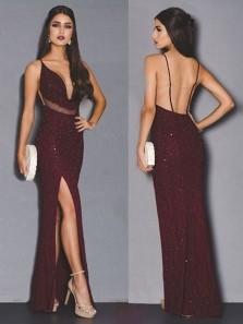 Sparkly Mermaid V Neck Spaghetti Straps Backless Dark Burgundy Sequin Long Prom Dresses,Formal Party Dresses