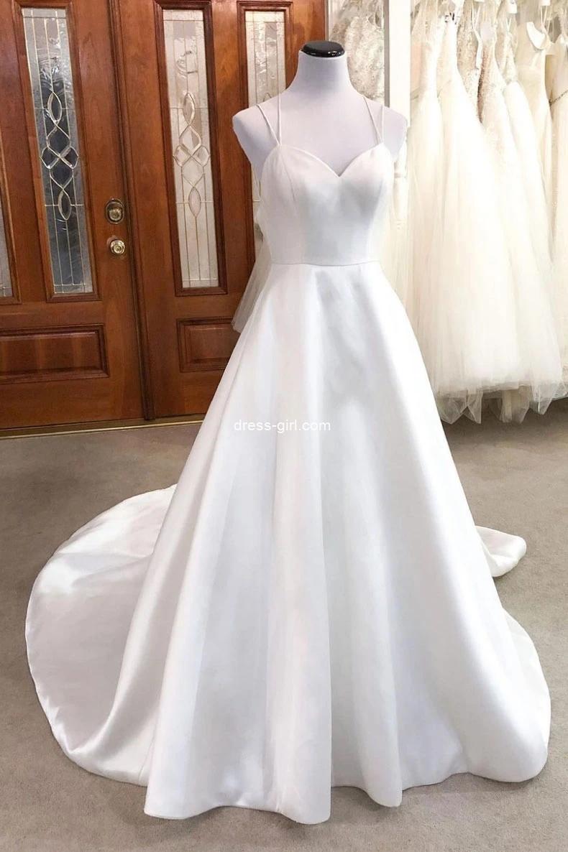 Simple A-Line V neck Backless White Satin Wedding Dresses