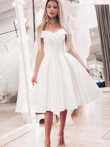 Simple A-Line Off the Shoulder Open Back White Satin Short Prom Dresses with Pockets,Cocktail Party dresses