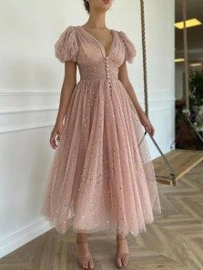 Princess A-Line V Neck Short Sleeve Blush Pink Tulle Ankle Length Prom Evening Dresses with Split,Spring Wedding Guest Party Dresses
