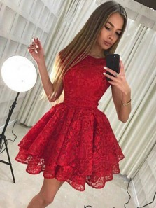 A-Line Round Neck Red Lace Tiered Short Homecoming Dresses,Cocktail Party Dresses
