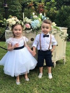Cute A-Line Round Neck White Lace Tulle Flower Girl Dresses,Birthday Party Dresses