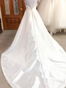 Simple A-Line V neck Backless White Satin Wedding Dresses