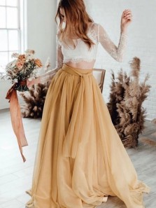 Gorgeous Two Piece Long Sleeves Yellow Prom Dress with White Lace Top Wedding Dresses