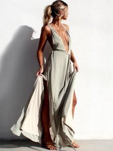 Sexy A-Line Deep V Neck Light Grey Chiffon Long Prom Dresses with Split,Unique Evening Party Dresses
