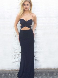 Sexy Sheath Spaghetti Straps Backless Navy Blue Elastic Satin Long Prom Dresses,Evening Party Dresses