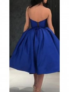 Unique A-Line Strapless Open Back Royalblue Satin Short Prom Dresses with Pockets,Short Formal Party Dresses