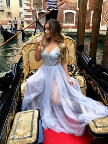 Modest A-Line V Neck Spaghetti Straps Backless Silver Tulle Long Prom Dresses,Evening Party Dresses