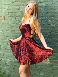 Cute A-Line Scoop Neck Cross Back Burgundy Sequins Short Homecoming Dresses,Short Prom Dresses