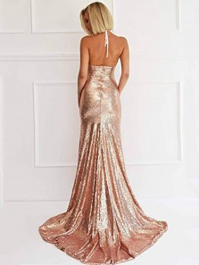 Gorgeous Halter Deep V Neck Open Back Gold Sequins Mermaid Long Prom Dresses with Side Split DG0919008