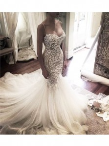 Luxury Lace Tulle Mermaid Wedding Dress,Court Train Sweetheart Wedding Gown with Applique