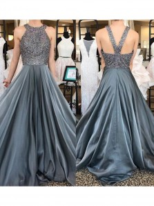 Sexy Halter Long Prom Dresses Evening Dress Party Gowns with Beaded for Women